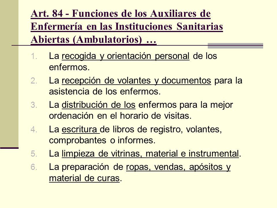 Art. 84 - Funciones de los Auxiliares de Enfermería en las Instituciones Sanitarias Abiertas (Ambulatorios) … 1. La recogida y orientación personal de