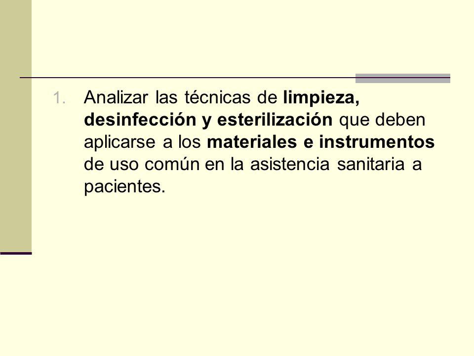 1. Analizar las técnicas de limpieza, desinfección y esterilización que deben aplicarse a los materiales e instrumentos de uso común en la asistencia