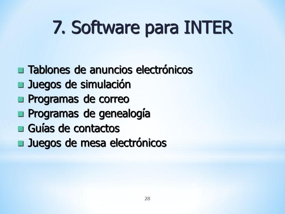 28 7. Software para INTER Tablones de anuncios electrónicos Tablones de anuncios electrónicos Juegos de simulación Juegos de simulación Programas de c