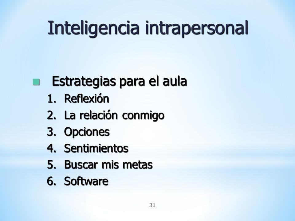 31 Inteligencia intrapersonal Estrategias para el aula Estrategias para el aula 1.Reflexión 2.La relación conmigo 3.Opciones 4.Sentimientos 5.Buscar m