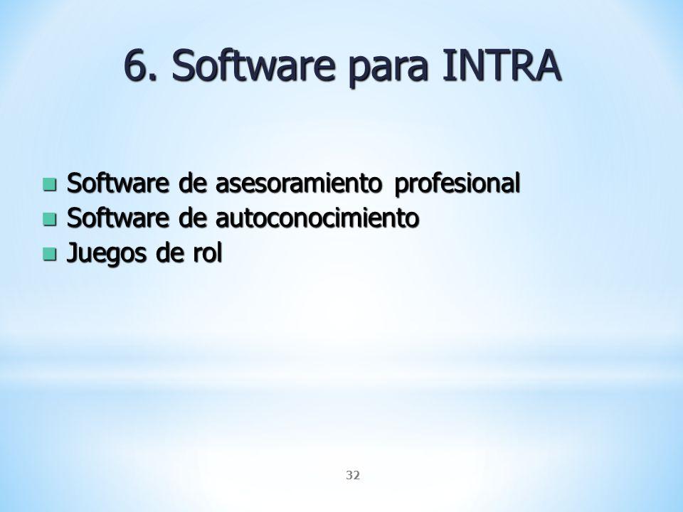 32 6. Software para INTRA Software de asesoramiento profesional Software de asesoramiento profesional Software de autoconocimiento Software de autocon