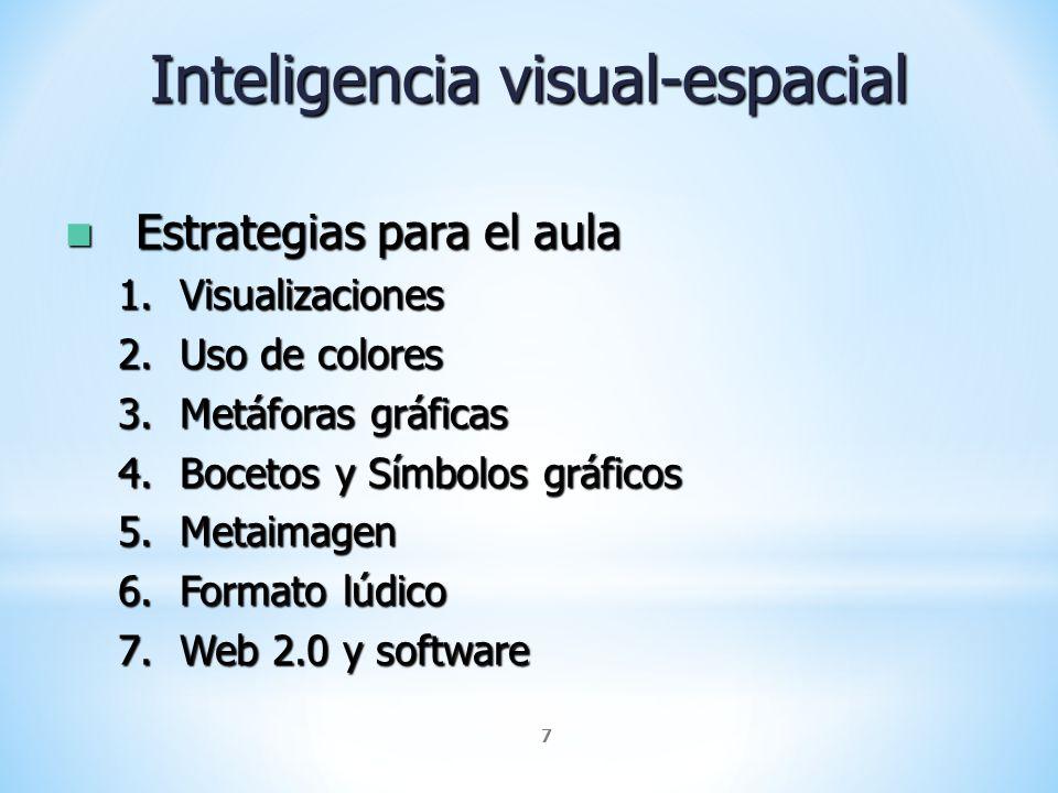 7 Inteligencia visual-espacial Estrategias para el aula Estrategias para el aula 1.Visualizaciones 2.Uso de colores 3.Metáforas gráficas 4.Bocetos y S