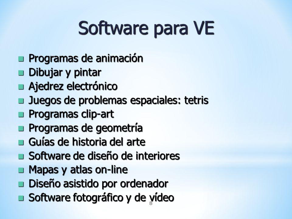 8 Software para VE Programas de animación Programas de animación Dibujar y pintar Dibujar y pintar Ajedrez electrónico Ajedrez electrónico Juegos de p