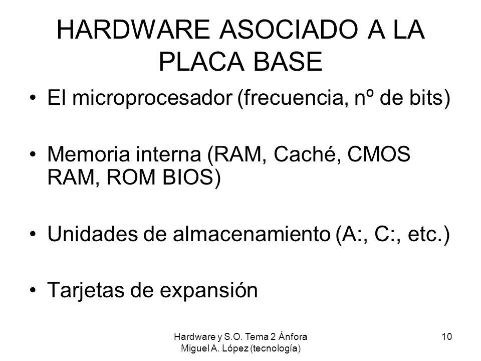 Hardware y S.O. Tema 2 Ánfora Miguel A. López (tecnología) 10 HARDWARE ASOCIADO A LA PLACA BASE El microprocesador (frecuencia, nº de bits) Memoria in