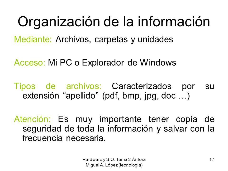 Hardware y S.O. Tema 2 Ánfora Miguel A. López (tecnología) 17 Organización de la información Mediante: Archivos, carpetas y unidades Acceso: Mi PC o E