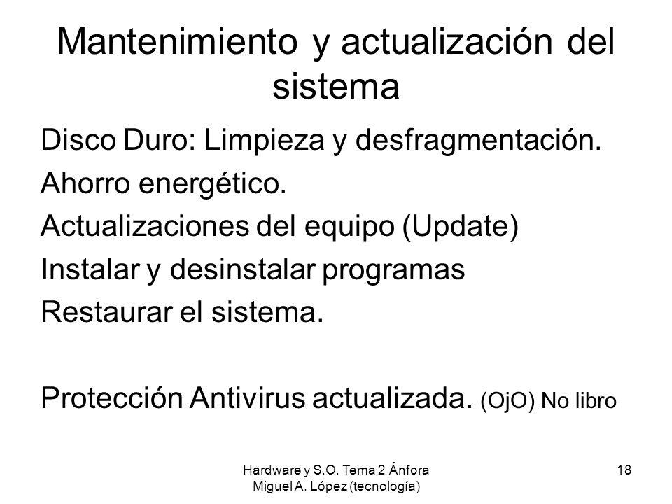 Hardware y S.O. Tema 2 Ánfora Miguel A. López (tecnología) 18 Mantenimiento y actualización del sistema Disco Duro: Limpieza y desfragmentación. Ahorr