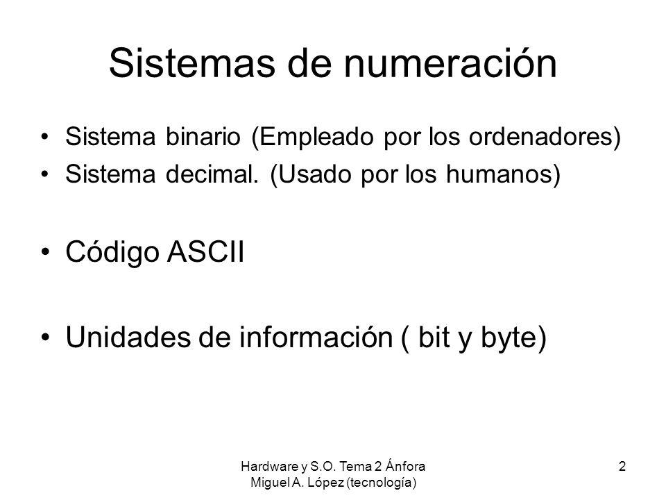 Hardware y S.O. Tema 2 Ánfora Miguel A. López (tecnología) 2 Sistemas de numeración Sistema binario (Empleado por los ordenadores) Sistema decimal. (U