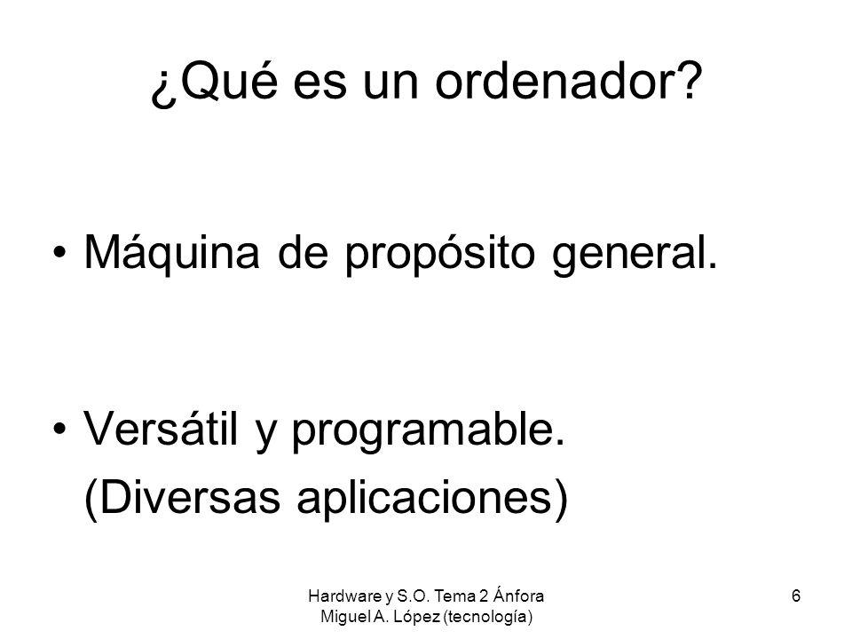 Hardware y S.O. Tema 2 Ánfora Miguel A. López (tecnología) 6 ¿Qué es un ordenador? Máquina de propósito general. Versátil y programable. (Diversas apl