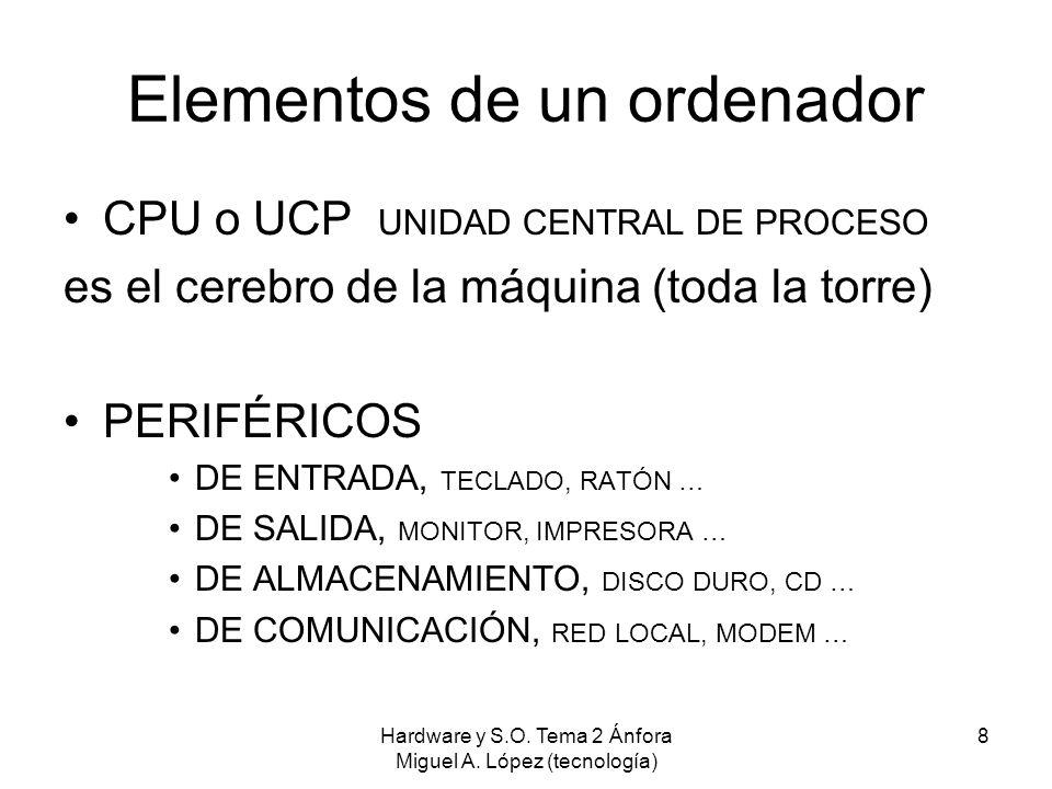 Hardware y S.O. Tema 2 Ánfora Miguel A. López (tecnología) 8 Elementos de un ordenador CPU o UCP UNIDAD CENTRAL DE PROCESO es el cerebro de la máquina