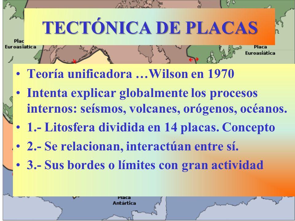 TECTÓNICA DE PLACAS Teoría unificadora …Wilson en 1970 Intenta explicar globalmente los procesos internos: seísmos, volcanes, orógenos, océanos.