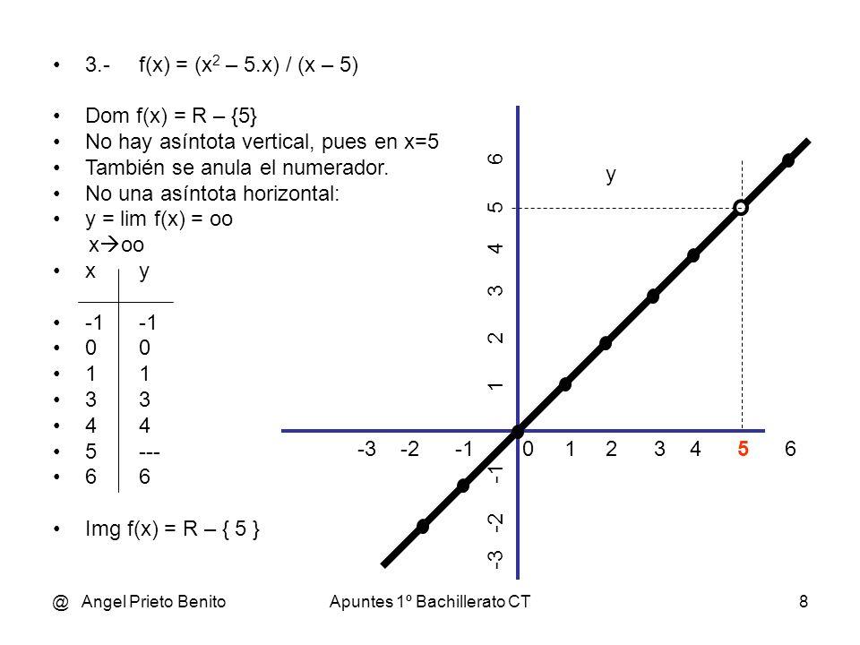 @ Angel Prieto BenitoApuntes 1º Bachillerato CT8 3.-f(x) = (x 2 – 5.x) / (x – 5) Dom f(x) = R – {5} No hay asíntota vertical, pues en x=5 También se a
