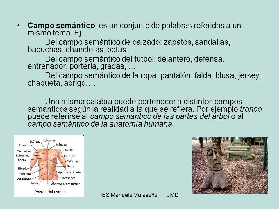 IES Manuela Malasaña JMD Campo semántico: es un conjunto de palabras referidas a un mismo tema. Ej. Del campo semántico de calzado: zapatos, sandalias