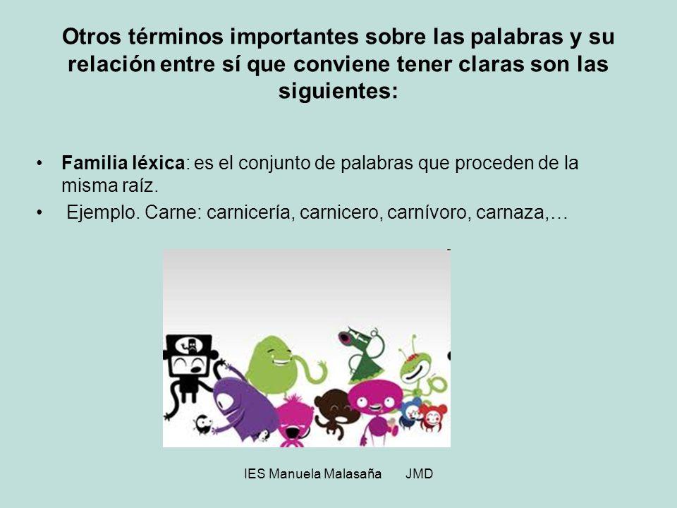 IES Manuela Malasaña JMD Otros términos importantes sobre las palabras y su relación entre sí que conviene tener claras son las siguientes: Familia lé