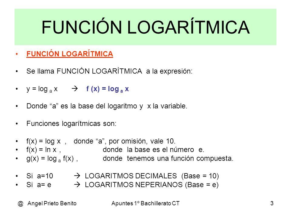 @ Angel Prieto BenitoApuntes 1º Bachillerato CT3 FUNCIÓN LOGARÍTMICA Se llama FUNCIÓN LOGARÍTMICA a la expresión: y = log a x f (x) = log a x Donde a es la base del logaritmo y x la variable.