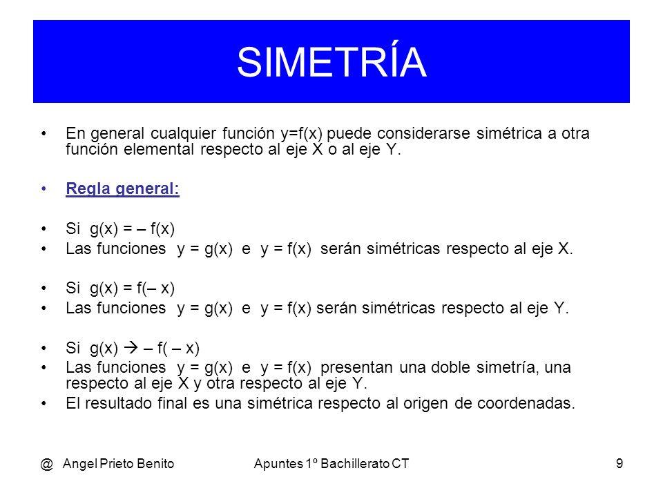 @ Angel Prieto BenitoApuntes 1º Bachillerato CT9 En general cualquier función y=f(x) puede considerarse simétrica a otra función elemental respecto al eje X o al eje Y.