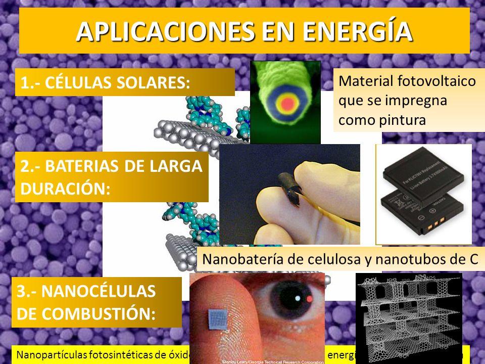 APLICACIONES EN ENERGÍA 1.- CÉLULAS SOLARES: 2.- BATERIAS DE LARGA DURACIÓN: 3.- NANOCÉLULAS DE COMBUSTIÓN: Material fotovoltaico que se impregna como