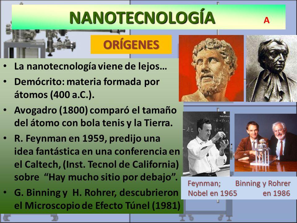 NANOTECNOLOGÍA NANOTECNOLOGÍA A Microscopio de efecto túnel (STM) ORÍGENES La nanotecnología viene de lejos… Demócrito: materia formada por átomos (40