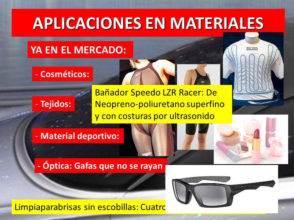 APLICACIONES EN MATERIALES YA EN EL MERCADO: - Cosméticos: - Tejidos: - Material deportivo: - Óptica: Gafas que no se rayan Limpiaparabrisas sin escob