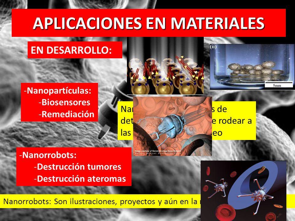 APLICACIONES EN MATERIALES EN DESARROLLO: -Nanopartículas: -Biosensores -Remediación -Nanorrobots: -Destrucción tumores -Destrucción ateromas Nanorrob