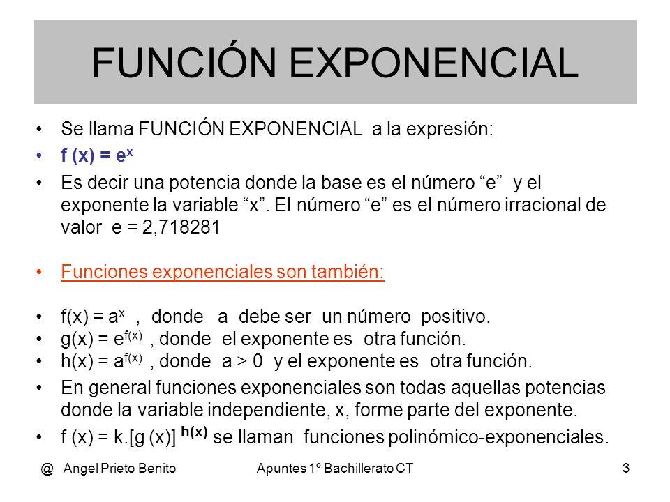 @ Angel Prieto BenitoApuntes 1º Bachillerato CT2 FUNCIÓN EXPONENCIAL Tema 9.7 * 1º BCT