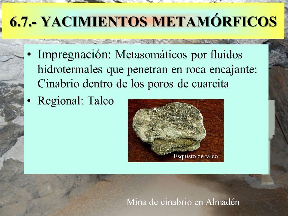 Impregnación: Metasomáticos por fluidos hidrotermales que penetran en roca encajante: Cinabrio dentro de los poros de cuarcita Regional: Talco 6.7.- Y