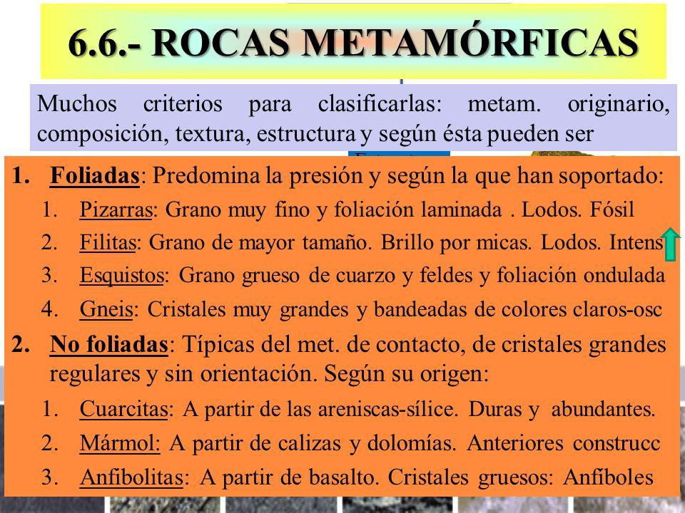 Estructura 6.6.- ROCAS METAMÓRFICAS 1.Foliadas: Predomina la presión y según la que han soportado: 1.Pizarras: Grano muy fino y foliación laminada. Lo
