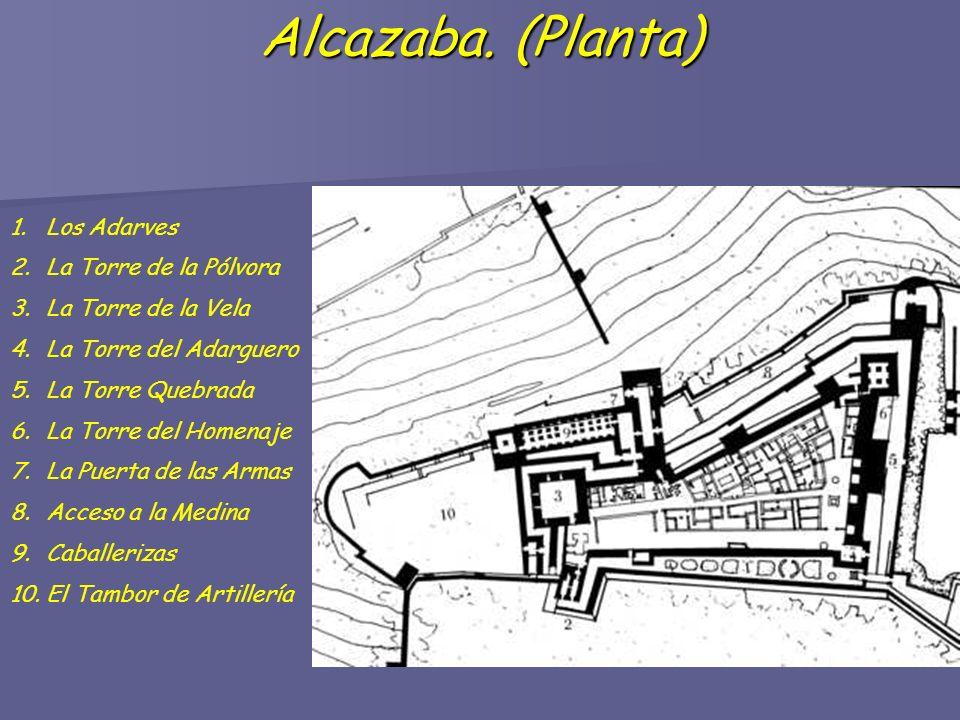 Alcazaba. (Planta) Alcazaba. (Planta) 1.Los Adarves 2.La Torre de la Pólvora 3.La Torre de la Vela 4.La Torre del Adarguero 5.La Torre Quebrada 6.La T