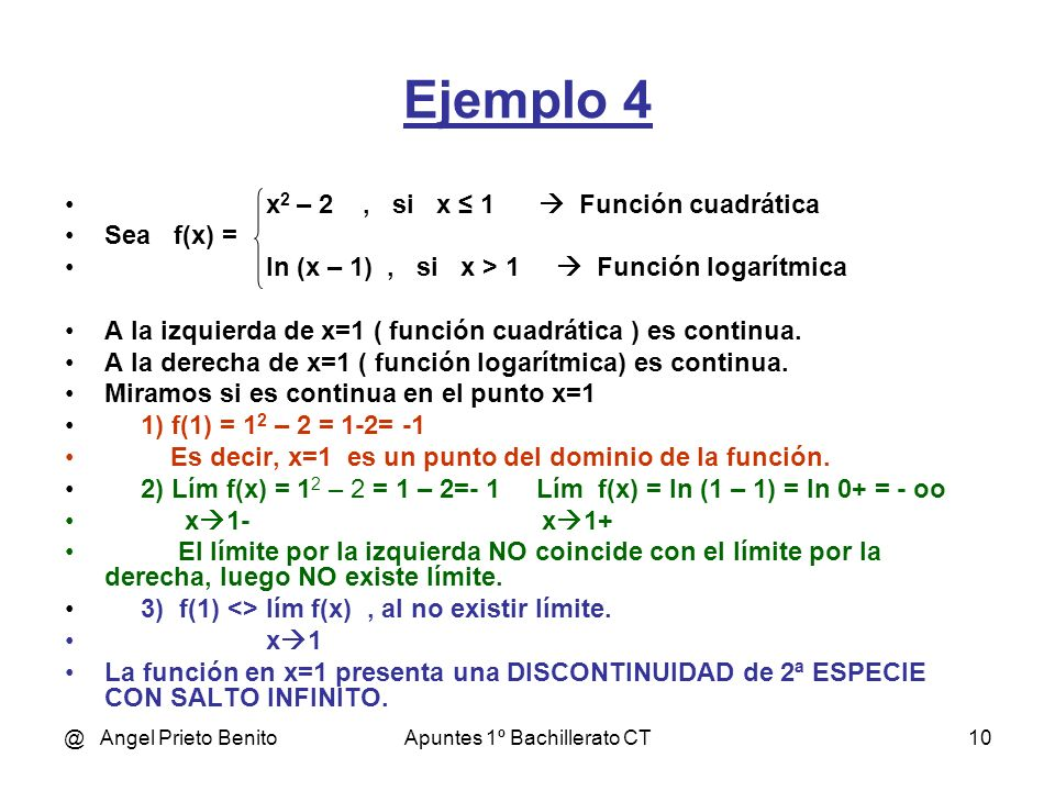 @ Angel Prieto BenitoApuntes 1º Bachillerato CT10 Ejemplo 4 x 2 – 2, si x 1 Función cuadrática Sea f(x) = ln (x – 1), si x > 1 Función logarítmica A l