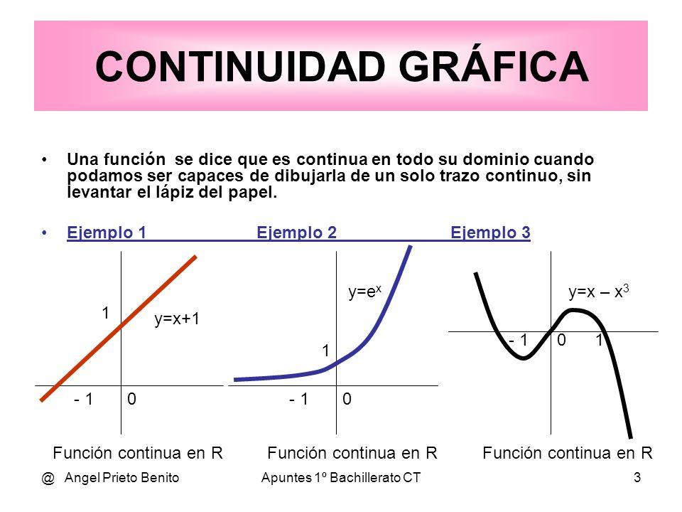 @ Angel Prieto BenitoApuntes 1º Bachillerato CT3 CONTINUIDAD GRÁFICA Una función se dice que es continua en todo su dominio cuando podamos ser capaces