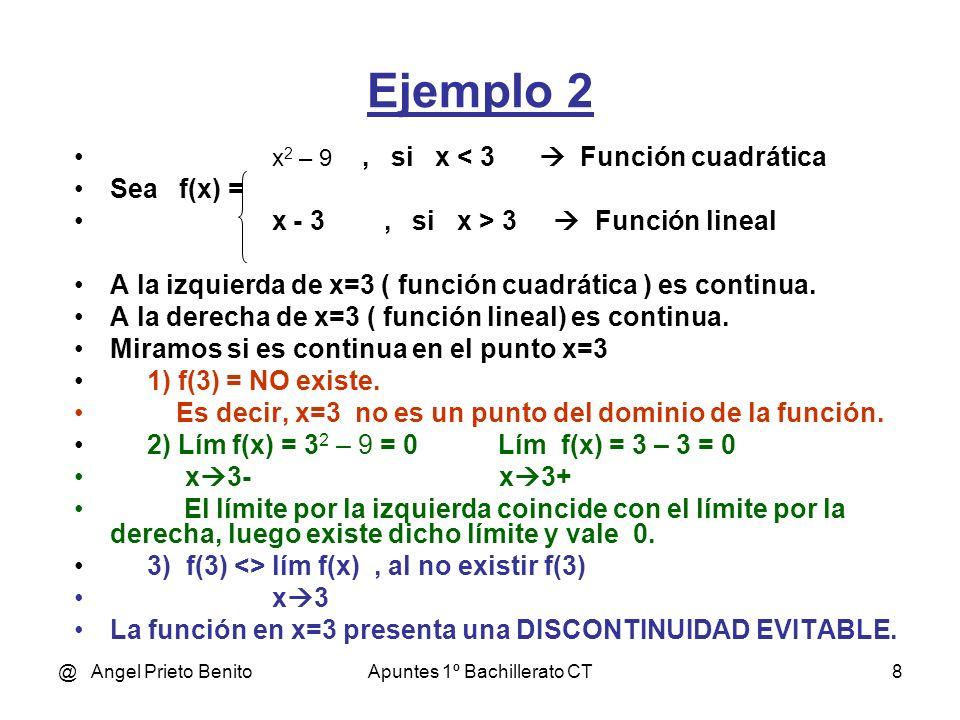 @ Angel Prieto BenitoApuntes 1º Bachillerato CT8 Ejemplo 2 x 2 – 9, si x < 3 Función cuadrática Sea f(x) = x - 3, si x > 3 Función lineal A la izquier