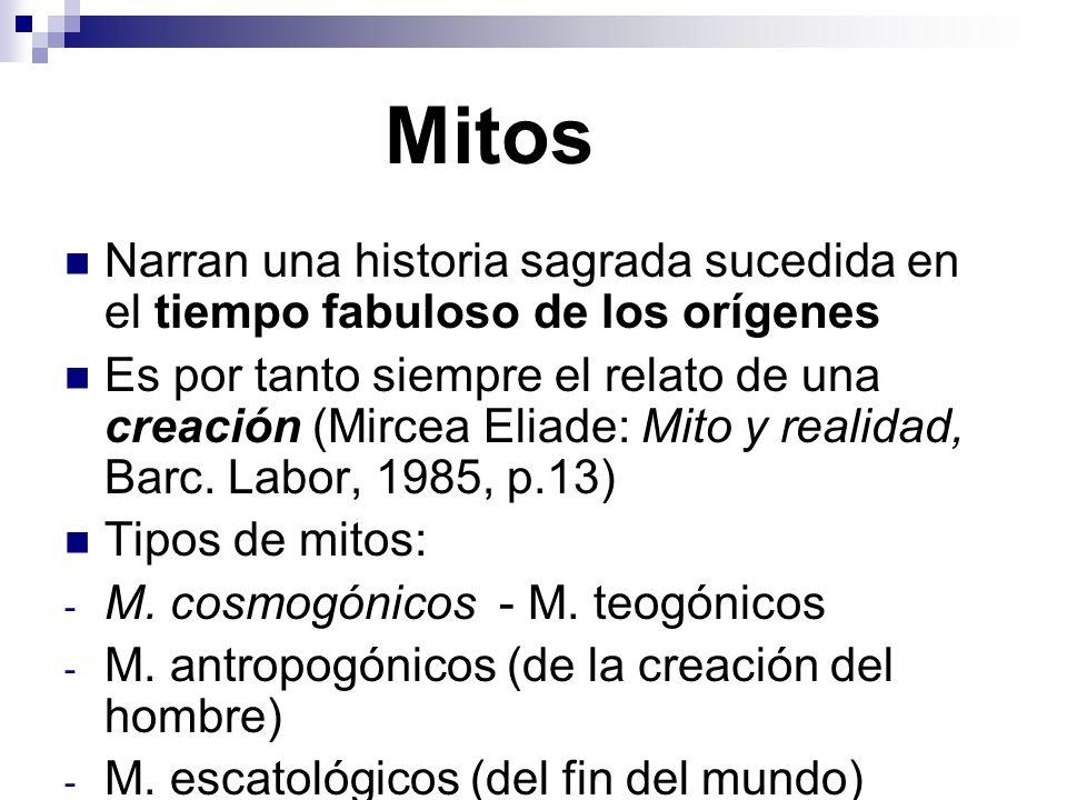 Mitos Narran una historia sagrada sucedida en el tiempo fabuloso de los orígenes Es por tanto siempre el relato de una creación (Mircea Eliade: Mito y