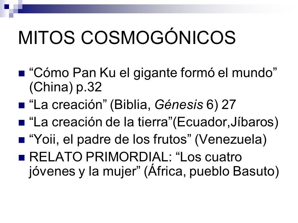 MITOS COSMOGÓNICOS Cómo Pan Ku el gigante formó el mundo (China) p.32 La creación (Biblia, Génesis 6) 27 La creación de la tierra(Ecuador,Jíbaros) Yoi