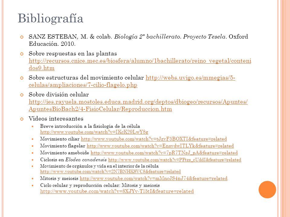 Bibliografía SANZ ESTEBAN, M. & colab. Biología 2º bachillerato. Proyecto Tesela. Oxford Educación. 2010. Sobre respuestas en las plantas http://recur