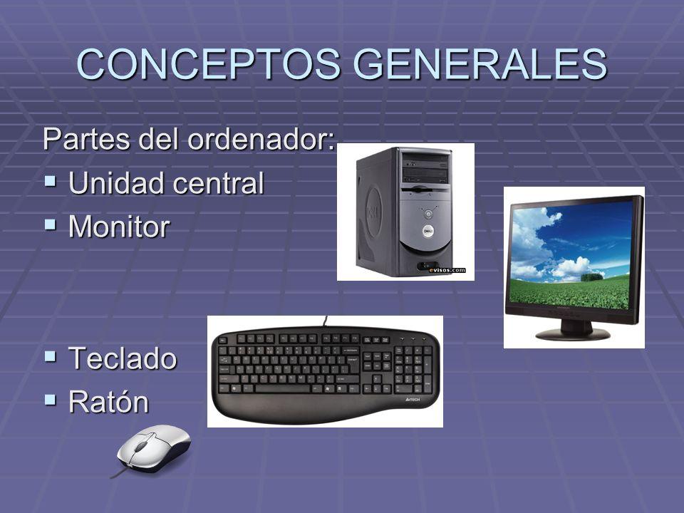 CONCEPTOS GENERALES Partes del ordenador: Unidad central Unidad central Monitor Monitor Teclado Teclado Ratón Ratón