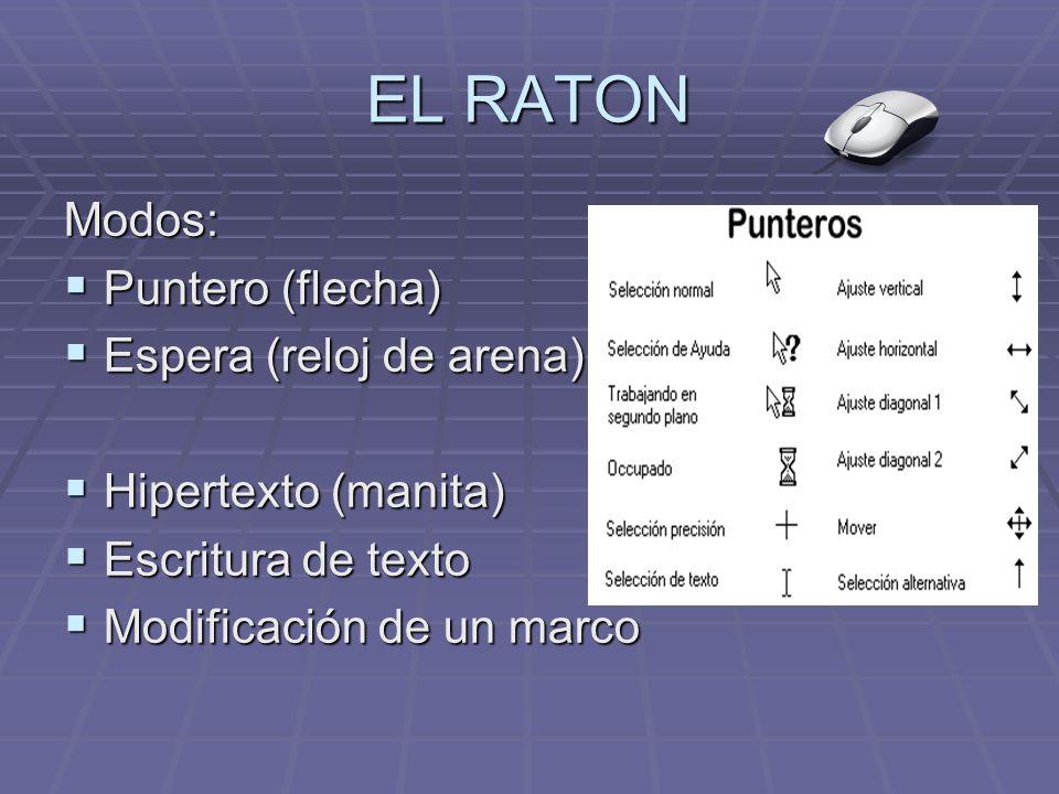 EL RATON Modos: Puntero (flecha) Puntero (flecha) Espera (reloj de arena) Espera (reloj de arena) Hipertexto (manita) Hipertexto (manita) Escritura de texto Escritura de texto Modificación de un marco Modificación de un marco