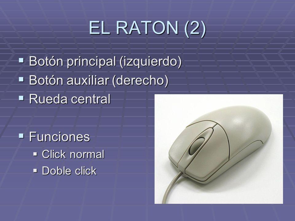 EL RATON (2) Botón principal (izquierdo) Botón principal (izquierdo) Botón auxiliar (derecho) Botón auxiliar (derecho) Rueda central Rueda central Funciones Funciones Click normal Click normal Doble click Doble click