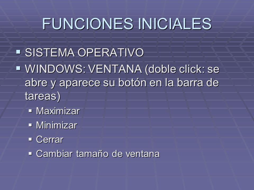 FUNCIONES INICIALES SISTEMA OPERATIVO SISTEMA OPERATIVO WINDOWS: VENTANA (doble click: se abre y aparece su botón en la barra de tareas) WINDOWS: VENT