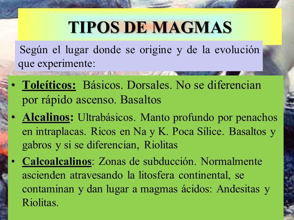 TIPOS DE MAGMAS Toleíticos: Básicos. Dorsales. No se diferencian por rápido ascenso. Basaltos Alcalinos: Ultrabásicos. Manto profundo por penachos en