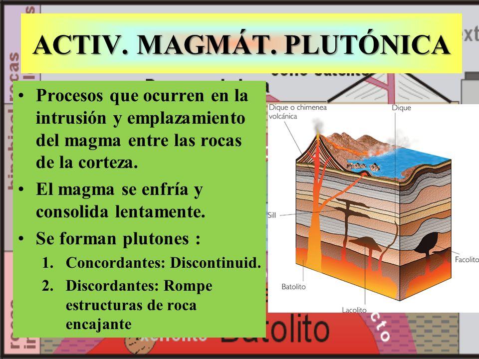 ACTIV. MAGMÁT. PLUTÓNICA Procesos que ocurren en la intrusión y emplazamiento del magma entre las rocas de la corteza. El magma se enfría y consolida
