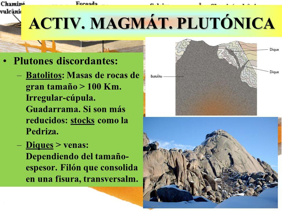 ACTIV. MAGMÁT. PLUTÓNICA Plutones discordantes: –Batolitos: Masas de rocas de gran tamaño > 100 Km. Irregular-cúpula. Guadarrama. Si son más reducidos