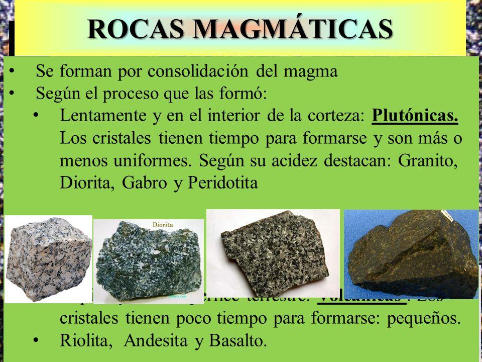Textura microcristalina del basalto ROCAS MAGMÁTICAS Se forman por consolidación del magma Según el proceso que las formó: Lentamente y en el interior