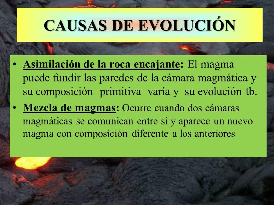CAUSAS DE EVOLUCIÓN Asimilación de la roca encajante: El magma puede fundir las paredes de la cámara magmática y su composición primitiva varía y su e