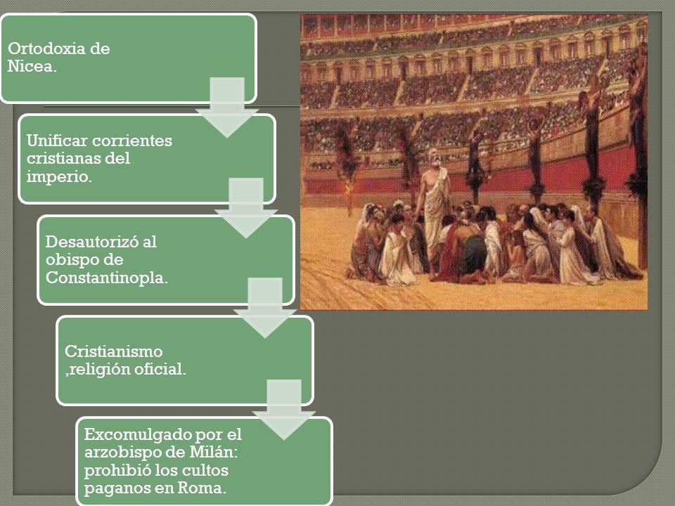 Ortodoxia de Nicea. Unificar corrientes cristianas del imperio. Desautorizó al obispo de Constantinopla. Cristianismo,religión oficial. Excomulgado po