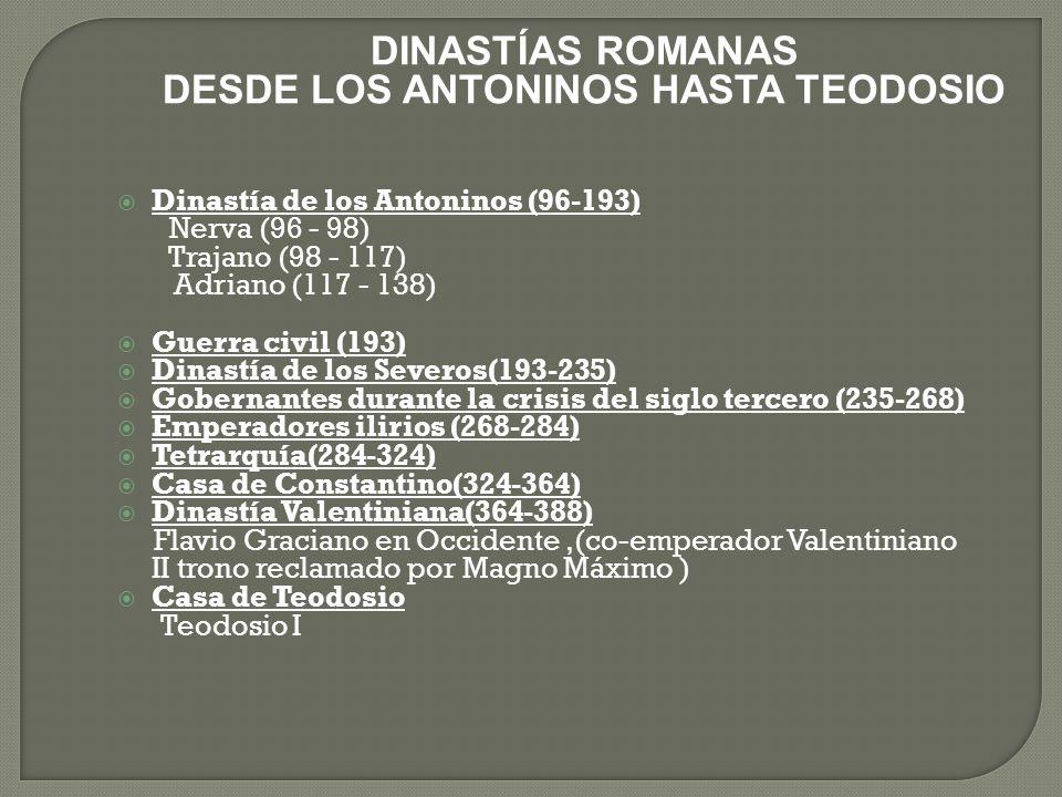 DINASTÍAS ROMANAS DESDE LOS ANTONINOS HASTA TEODOSIO Dinastía de los Antoninos (96-193) Nerva (96 - 98) Trajano (98 - 117) Adriano (117 - 138) Guerra