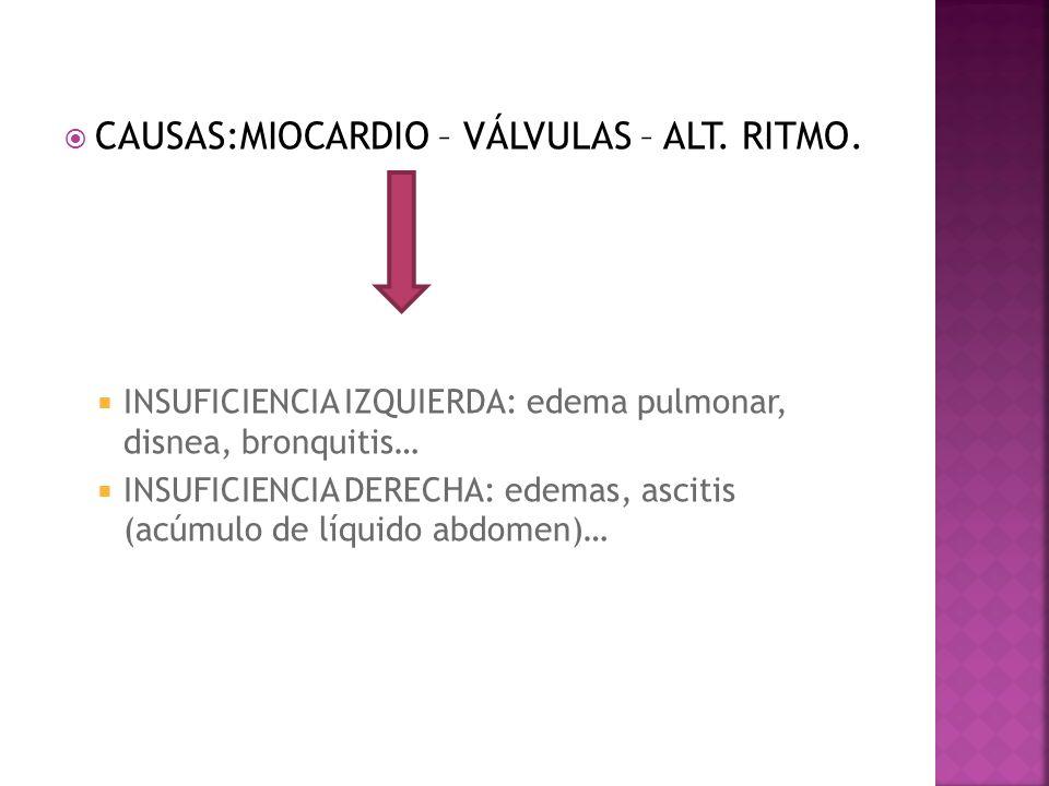 CAUSAS:MIOCARDIO – VÁLVULAS – ALT. RITMO. INSUFICIENCIA IZQUIERDA: edema pulmonar, disnea, bronquitis… INSUFICIENCIA DERECHA: edemas, ascitis (acúmulo