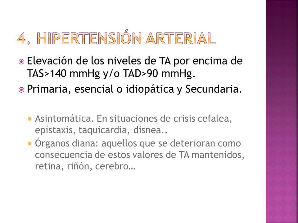 Elevación de los niveles de TA por encima de TAS>140 mmHg y/o TAD>90 mmHg. Primaria, esencial o idiopática y Secundaria. Asintomática. En situaciones