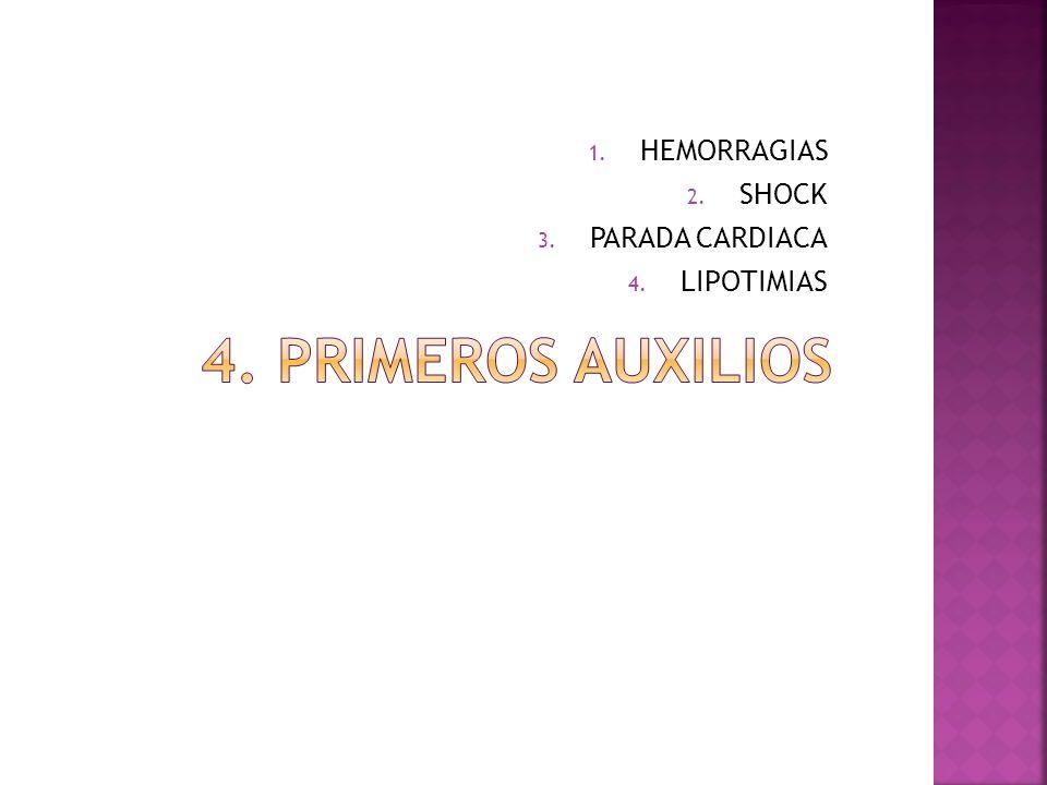 1. HEMORRAGIAS 2. SHOCK 3. PARADA CARDIACA 4. LIPOTIMIAS