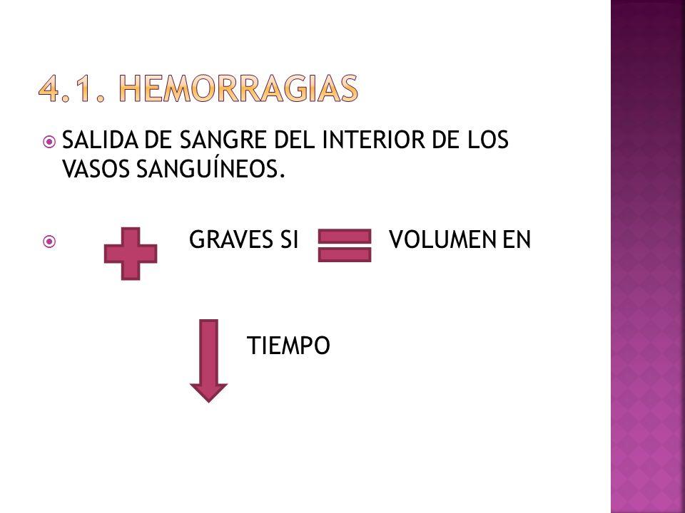 SALIDA DE SANGRE DEL INTERIOR DE LOS VASOS SANGUÍNEOS. GRAVES SI VOLUMEN EN TIEMPO
