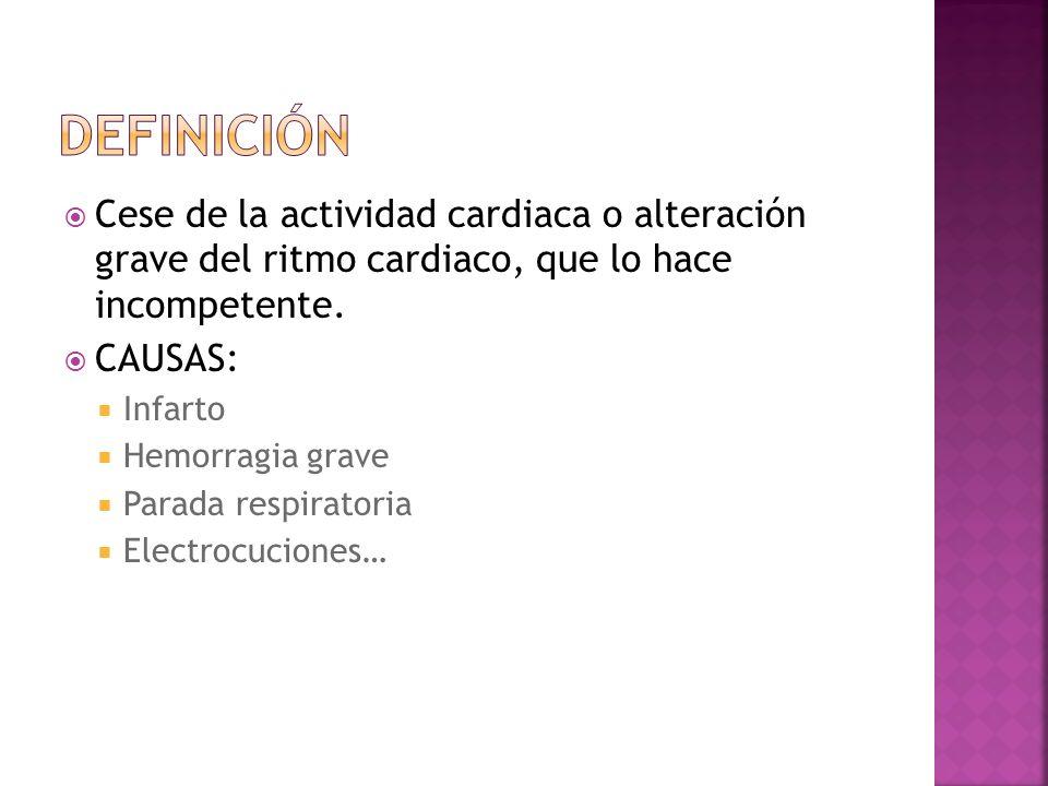Cese de la actividad cardiaca o alteración grave del ritmo cardiaco, que lo hace incompetente. CAUSAS: Infarto Hemorragia grave Parada respiratoria El