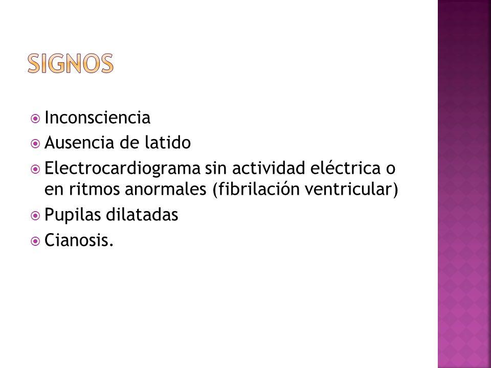 Inconsciencia Ausencia de latido Electrocardiograma sin actividad eléctrica o en ritmos anormales (fibrilación ventricular) Pupilas dilatadas Cianosis